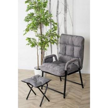 Fotel Rozkładany z Podnóżkiem FOX Szary Salon Loft