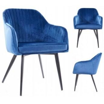 Krzesło Tapicerowane do Jadalni ELINA Granatowe