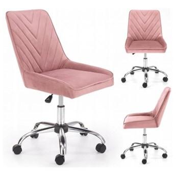 Fotel Obrotowy Biurowy RICO Różowy Welur do Biurka