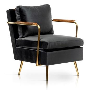 Fotel czarny aksamit / złote nogi / RONI