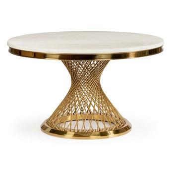 Stół okrągły biało złoty / marmur syntetyk / Anton