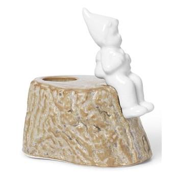 Świąteczny świecznik z porcelany i kamionki Kähler Design, dł. 9 cm