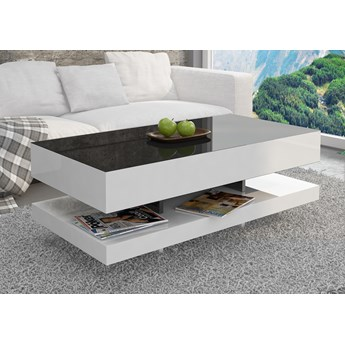 Stolik do salonu w wysokim połysku z czarnym blatem i białymi bokami Tora