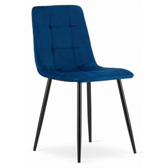 Krzesło Welurowe Kanzas Granatowe Aksamit