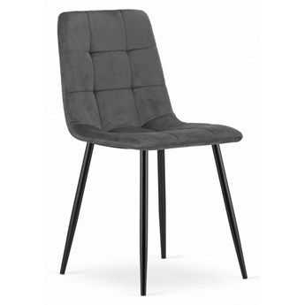 Krzesło Welurowe Kanzas Szare Aksamit