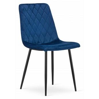 Komplet 4x krzesło do salonu jadalni tapicerowane glamour nowoczesne Velvet aksamit welur TURIN granatowe Leobert