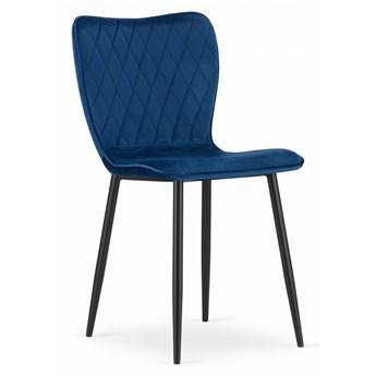 Komplet 4x krzesło pikowane nowoczesne glamour uszak do salonu jadalni Velvet aksamit welur FOX granatowe Leobert