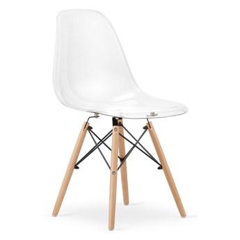 Komplet 4x krzesło do jadalni kuchni nowoczesne drewniane nóżki OSAKA przezroczyste Leobert