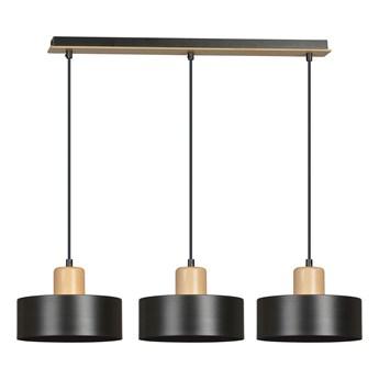TORIN 3 BLACK 1046/3 nowoczesna lampa sufitowa czarna drewniane elementy