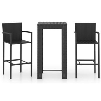 vidaXL 3-cz. zestaw mebli barowych z podłokietnikami, czarny rattan PE