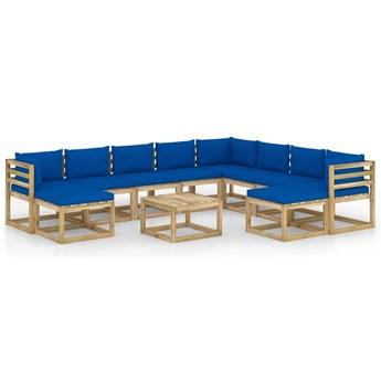 vidaXL 11-cz. zestaw wypoczynkowy do ogrodu, z poduszkami, drewniany