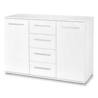 SELSEY Komoda Claros dwudrzwiowa z czterema szufladami biała