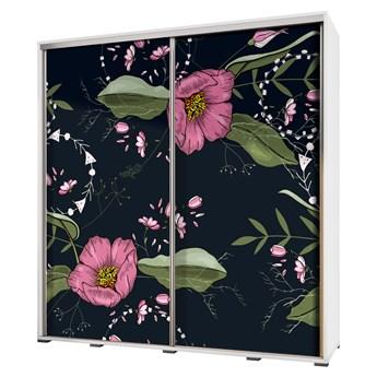 SELSEY Szafa przesuwna Wenecja 205 cm Malowane kwiaty na czarnym tle