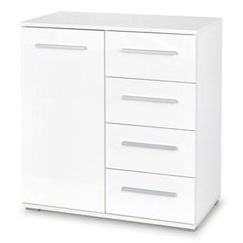 SELSEY Komoda Claros jednodrzwiowa z czterema szufladami biała