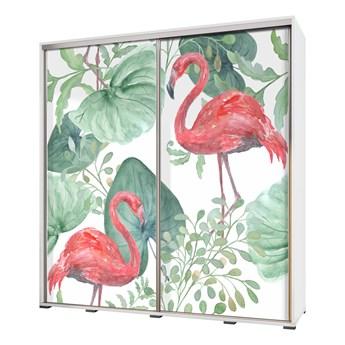 SELSEY Szafa Wenecja 205 cm Flamingi i monstera