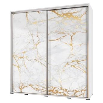 SELSEY Szafa przesuwna Wenecja 205 cm Biały marmur ze złotem