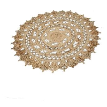 SELSEY Dywan nowoczesny Mandala z naturalnego sznurka ciemna z wypustkami na krawędzi średnica 120 cm