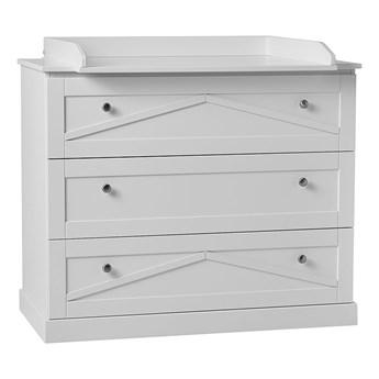 SELSEY Komoda z trzema szufladami Meiny w klasycznym stylu biała z przewijakiem