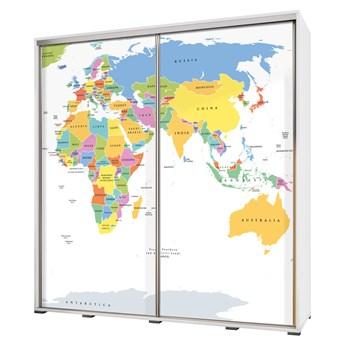 SELSEY Szafa Wenecja 205 cm Mapa świata na białym tle