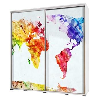SELSEY Szafa Wenecja 205 cm Mapa świata geometria