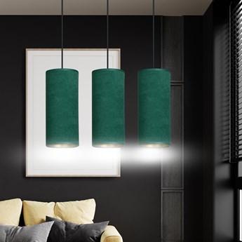 BENTE 3 BL GREEN lampa wisząca abażury welurowe regulowana złoty środek