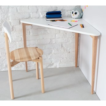 Trójkątne biurko rogowe Naja na nogach w kolorze drewna