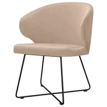 SELSEY Krzesło tapicerowane Bursion na krzyżakowej podstawie beżowe