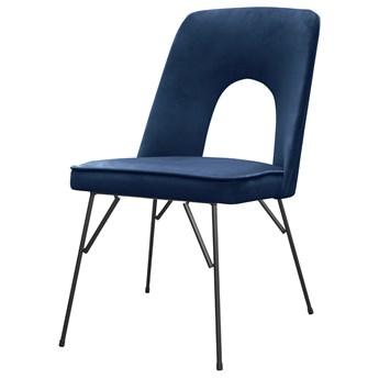 SELSEY Krzesło tapicerowane Slavider na prostych nogach granatowe