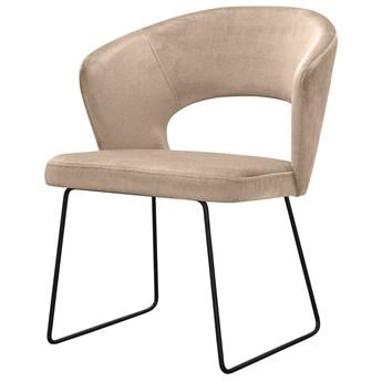 SELSEY Krzesło tapicerowane Bareit na metalowych płozach beżowe