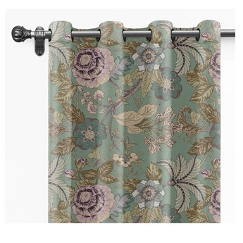 Zielona bawełniana zasłona Velvet Atelier Japanese Flowers, 260x140 cm