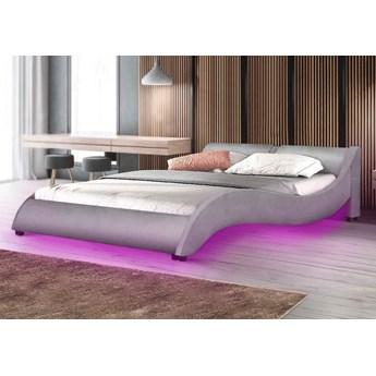 Łóżko tapicerowane 180x200 868 LED szary welur