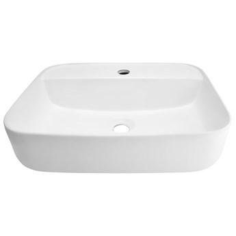 Wolnostojąca umywalka nablatowa Corsan 649896 prostokątna biała 55 x 40 x 14 cm z otworem na baterię