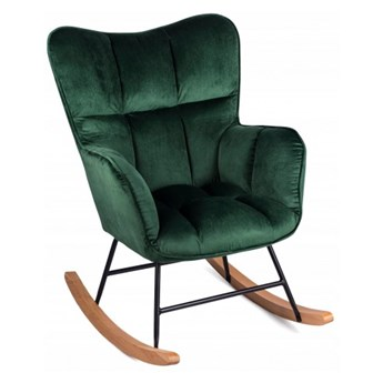 Fotel Uszak ROSSI Zielony Bujany na Biegunach