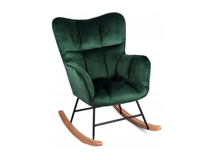 Fotel Uszak ROSSI Zielony Bujany na Biegunach Styl Skandynawski Drewno Tkanina Fotel bujany Pomieszczenie Salon