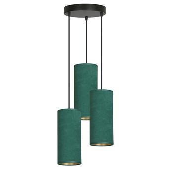 BENTE 3 BL PREMIUM GREEN lampa wisząca abażury welurowe regulowana złoty środek