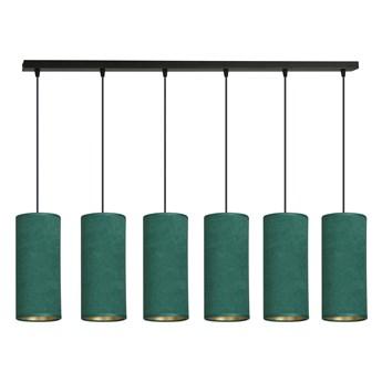 BENTE 6 BL GREEN lampa wisząca abażury WELUROWE regulowana złoty środek