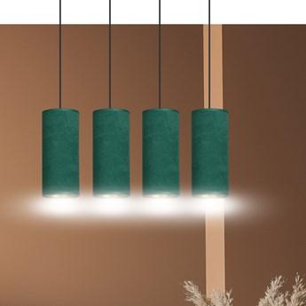BENTE 4 BL GREEN lampa wisząca abażury WELUROWE regulowana złoty środek