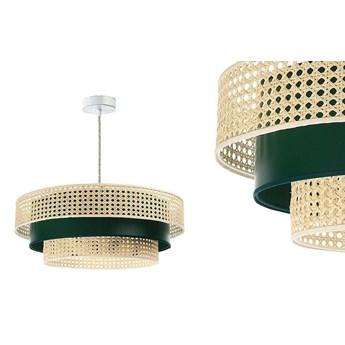 Lampa rattan-satyna wisząca w stylu boho 60cm - do salonu sypialni (Rotang-011, 1xE27) ręcznie robiona