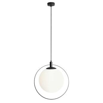 Lampa wisząca pojedyncza - kula mleczna, (ramka czarna) 1xE27, Aldex (Aura)1049G1