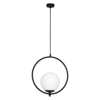 Mleczna kula - ring, czarna lampa wisząca do salonu (1xE27) Aldex (Sol) 1075G1