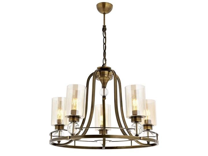 Żyrandol patynowy - szklane miodowe klosze, 5xE27, Avonni AV-1597-5E Kategoria Lampy wiszące Szkło Lampa z kloszem Metal Funkcje Możliwość ściemniania