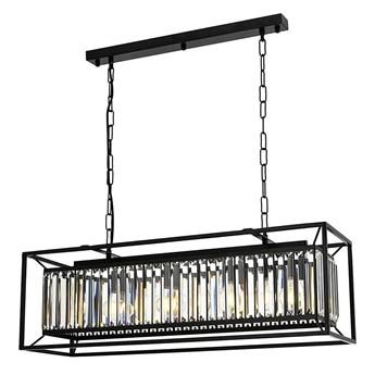 Nowoczesna lampa wisząca na listwie - czarny szklany żyrandol 4xE27, Avonni AV-1667-4Y-BSY