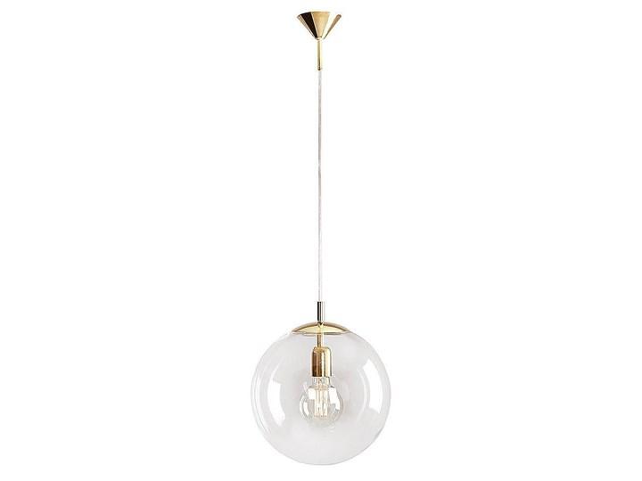 Szklana lampa wisząca, pojedyncza przezroczysta kula 1xE27 (złote zawiesie) Aldex (Globus) 562G10 Metal Szkło Lampa kula Lampa z kloszem Styl Nowoczesny