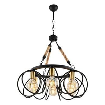 CZARNE METALOWE OKRĘGI + SZNUREK, lampa wisząca żyrandol 6xE27, Ozcan 6432-6A