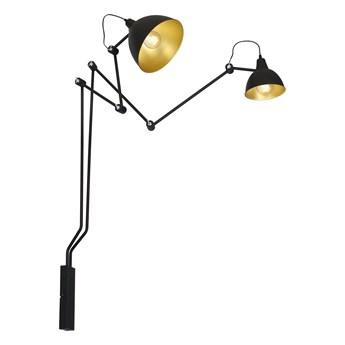Regulowana lampa ścienna (BIBI) czarno - złoty kinkiet ustawny 2xE27 (17,25x190cm), Aldex (Aida) 843D