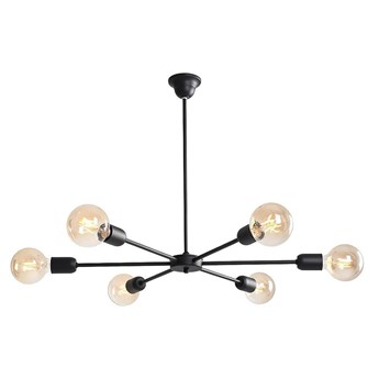 Czarna nowoczesna lampa - żyrandol do salonu, sypialni (wisząca 6xE27) Aldex (after) 952K1