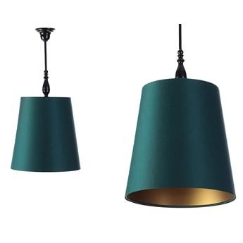 Satynowy rustykalny abażur -zielona lampa wisząca (czarny metal) Gardenia, ręcznie robiona
