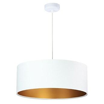 Welurowy abażur Lilia - biała lampa wisząca do salonu, sypialni (kolekcja - Standard, 1xE27) ręcznie robiona