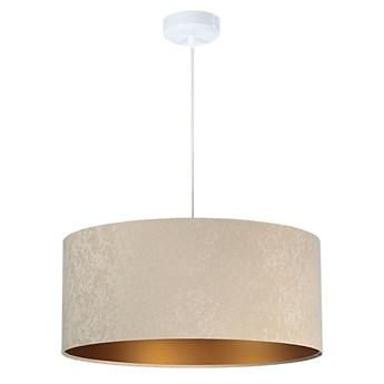 Welurowy abażur Nigella - beżowa lampa wisząca do salonu, sypialni (kolekcja - Standard, 1xE27) ręcznie robiona