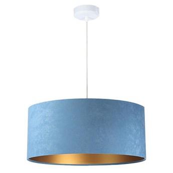 Welurowy abażur Angarika - błękitna lampa wisząca do salonu, sypialni (kolekcja - Standard, 1xE27) ręcznie robiona